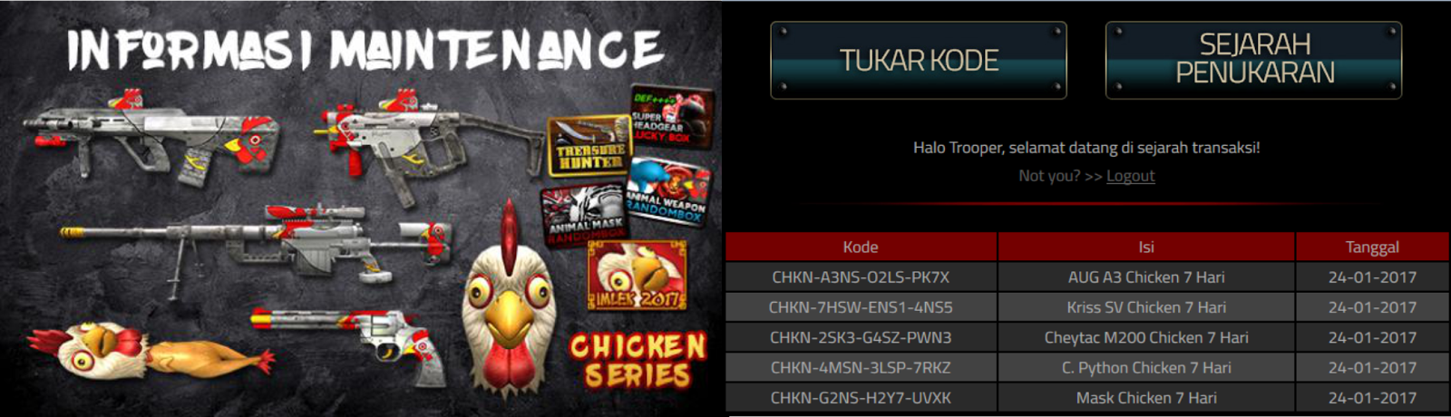 Redeem Code Chicken Series