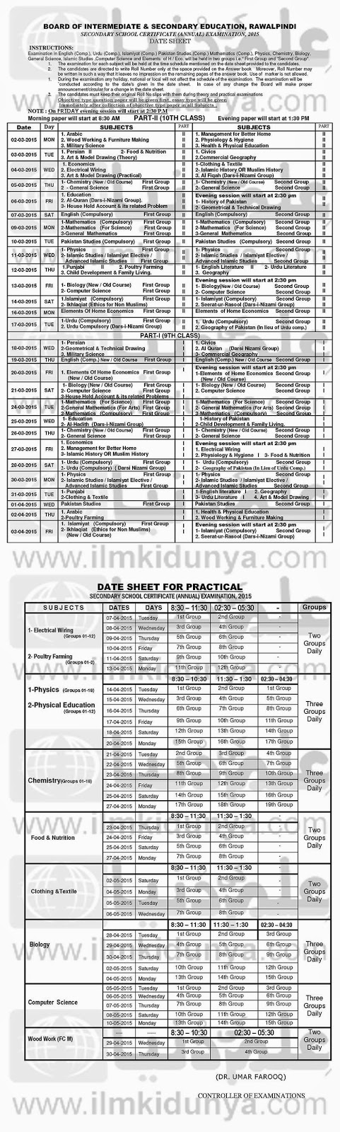 Pakistani boards results bise rawalpindi board matric ssc for 9th class time table