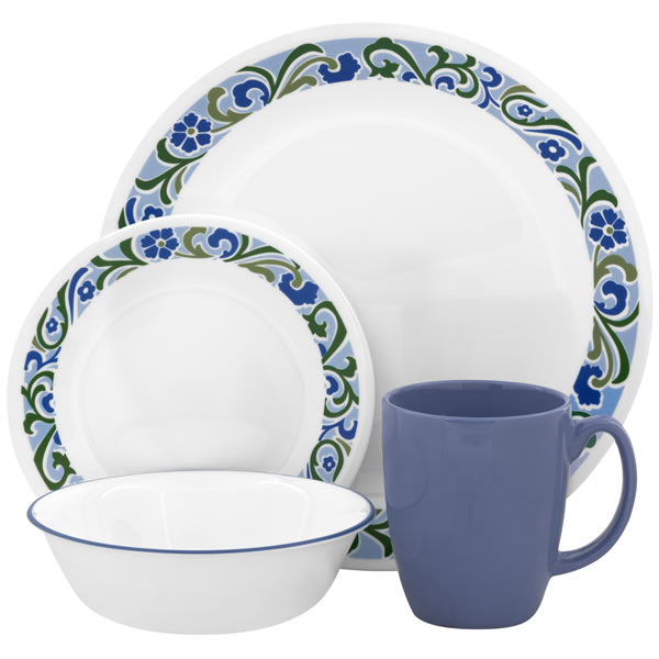 corelle serenity16 pc dinnerware set adorable muslimah 39 s kitchen. Black Bedroom Furniture Sets. Home Design Ideas