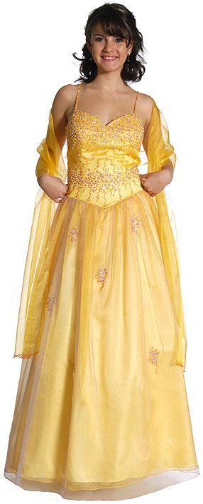 Vestido de 15 años sencillo de color Amarillo