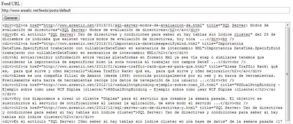 areaTIC, WCF: Utilidad para convertir feeds en HTML estático