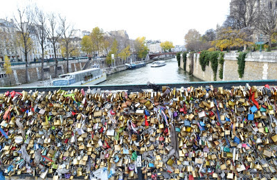 Love locks in Paris, over the Seine