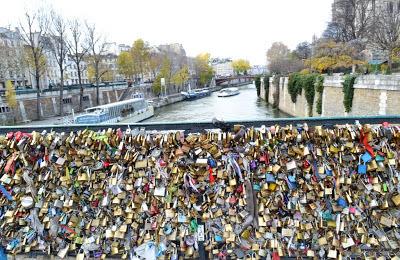 Love locks in Paris, over the Seine