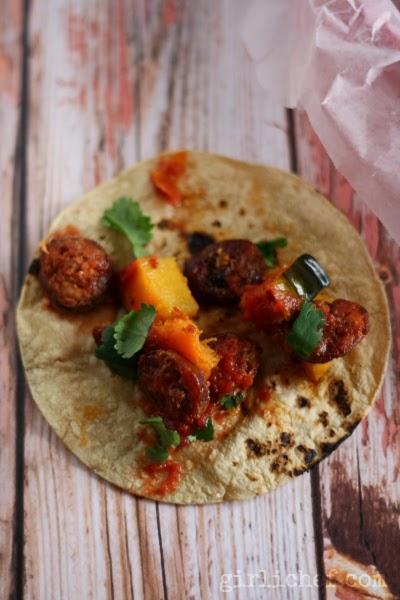 Acorn Squash and Chorizo Seco Tacos via www.girlichef.com