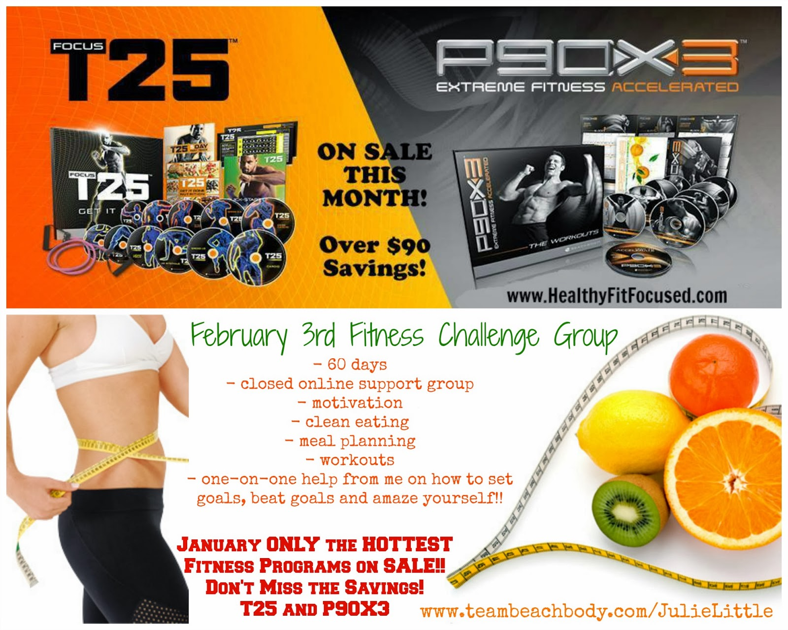 Challenge Pack Sale, P90X and T25.  Fitness Challenge Group
