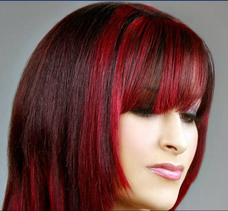bright red highlights in dark brown hair