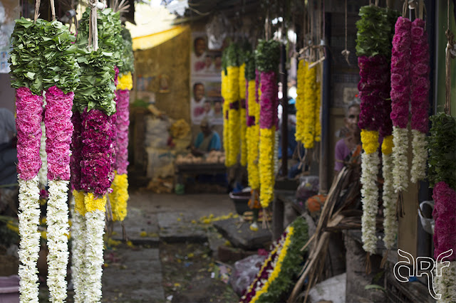 flower garlands on market of Pondicherry