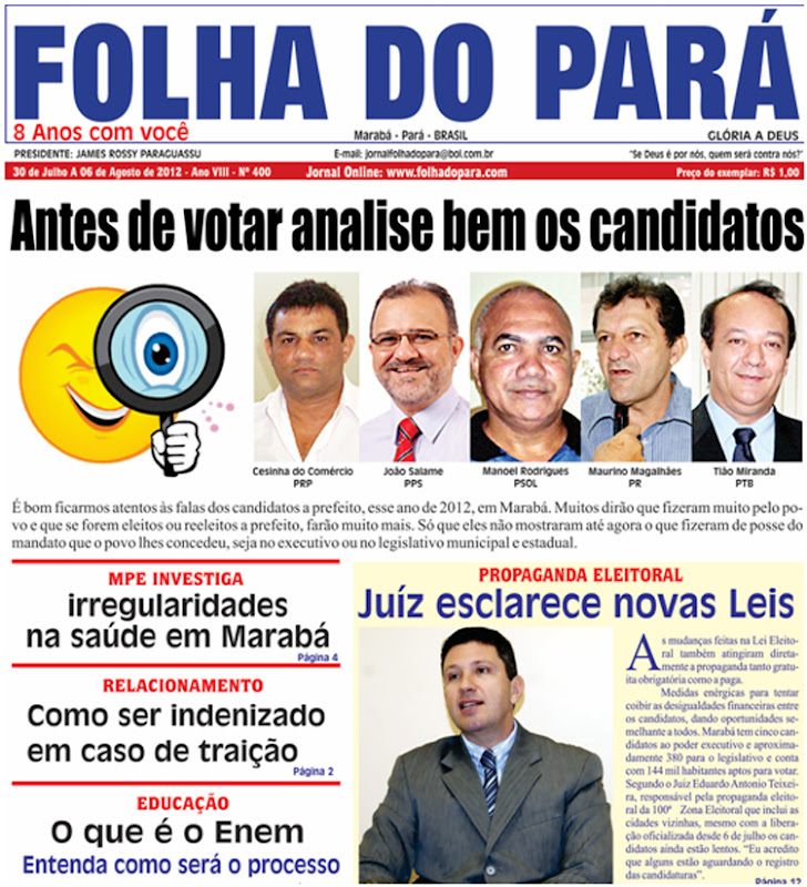 J NAS BANCAS A NOVA EDIO DO JORNAL FOLHA DO PAR - VEJA AS PGINAS