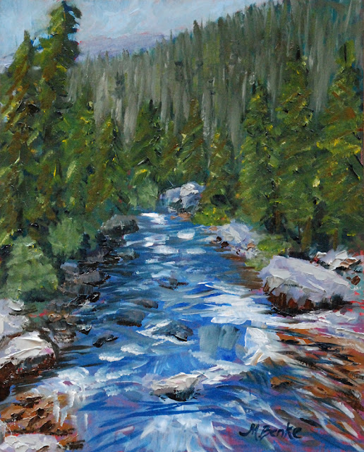 rushing river upstream or downstream palette knife oil painting by Mary Benke