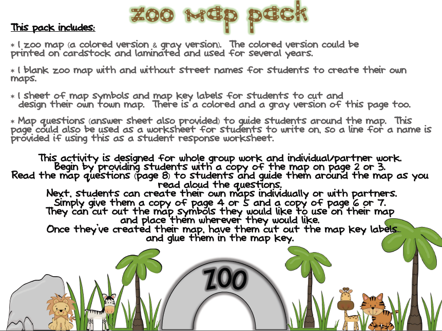 Zoo Map Template Zoo Map Pack