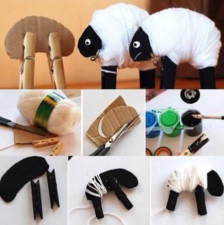 Ovejas de lana y carton manualidades faciles - Manualidades en lana ...