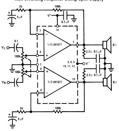 world technical  circuit amplifier using lm1877