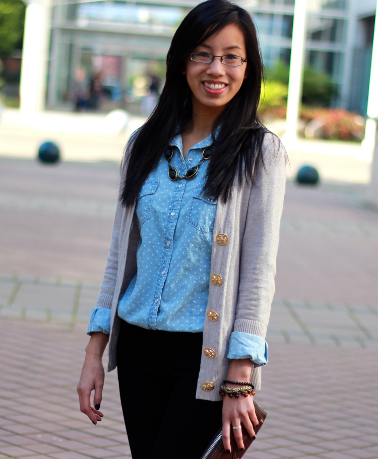 easy layering idea for fall cardigan and chambray