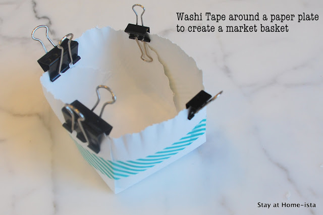 washi tape to hold together a paper plate basket