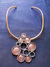 Collar cobre envejecido, círculos centrales de plata(196)