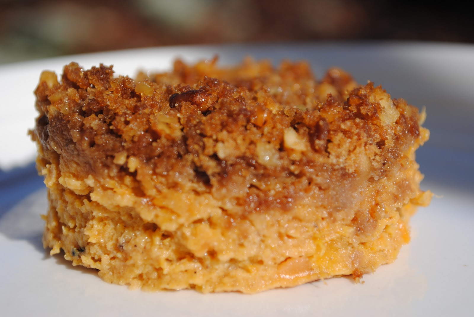 ... SWEET POTATO PUDDING WITH PECAN GINGERSNAP TOPPING and PARSNIP POTATO