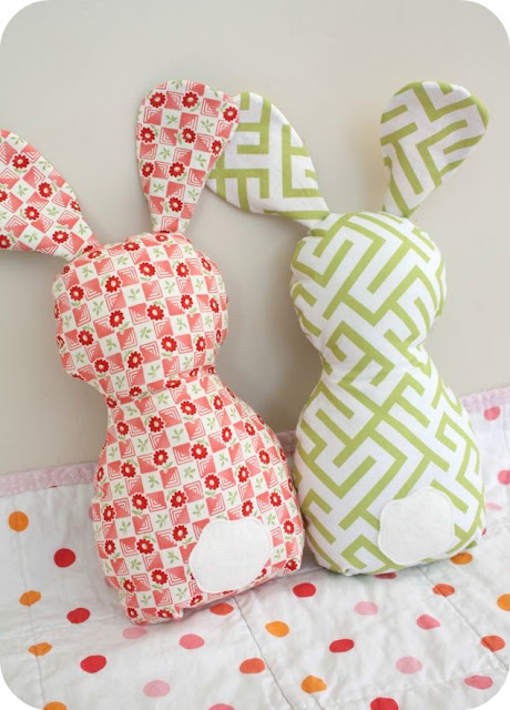 patterned stuffed bunny cushions