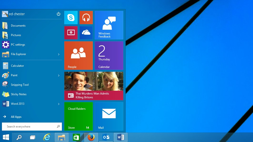 kehadiran start menu pada windows 10