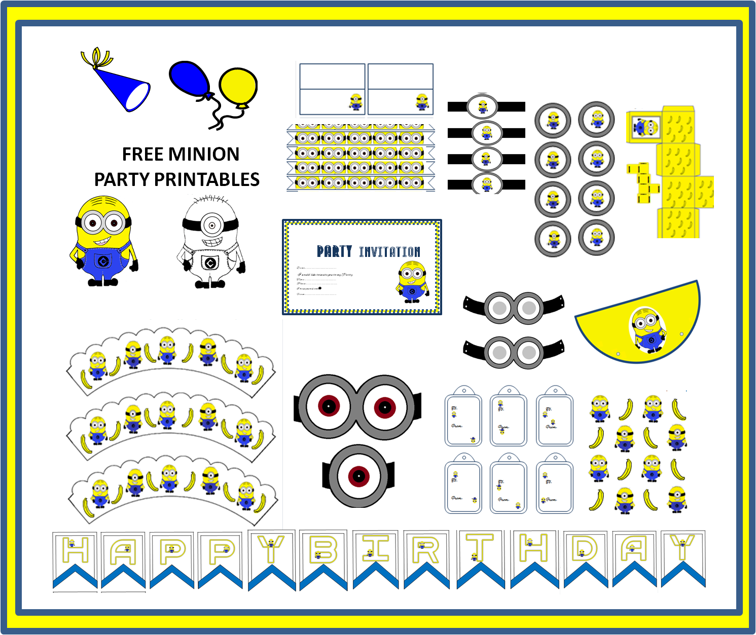 the art bug: Free Minion Themed Party Printables