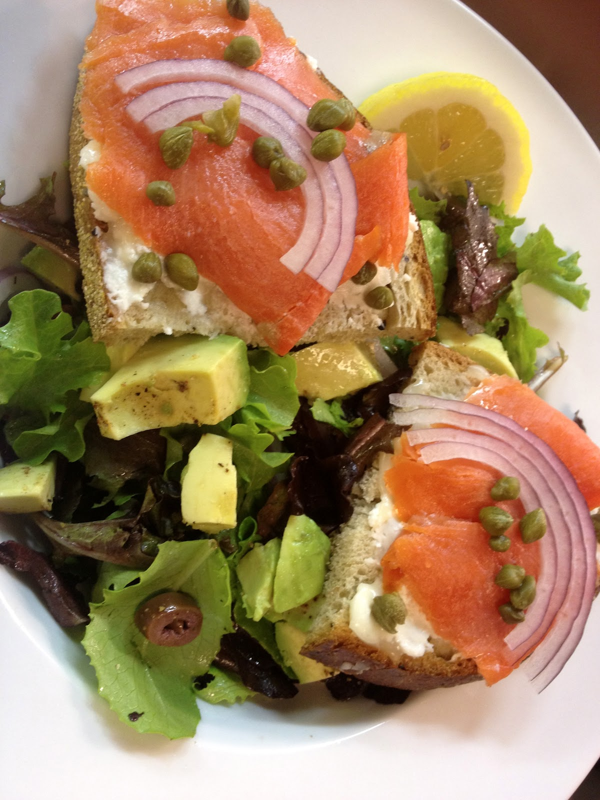 Finished Smoked Salmon and Goat Cheese Toasts over Field Greens, Photo ...