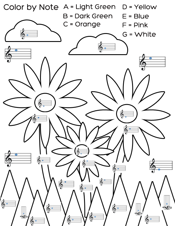 Coloring pages fun my melody coloring pages - Mrs Q S Music Blog Freebie Color By Note Flowers