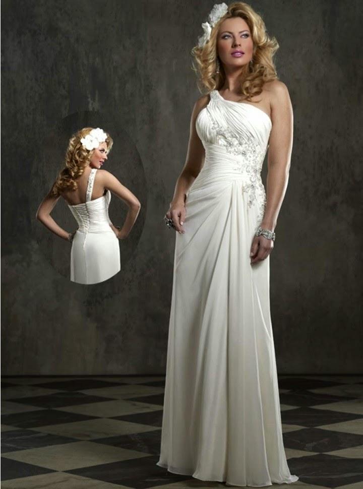 Vestido de Novia con un Hombro y Apliques Laterales en Alto Relieve