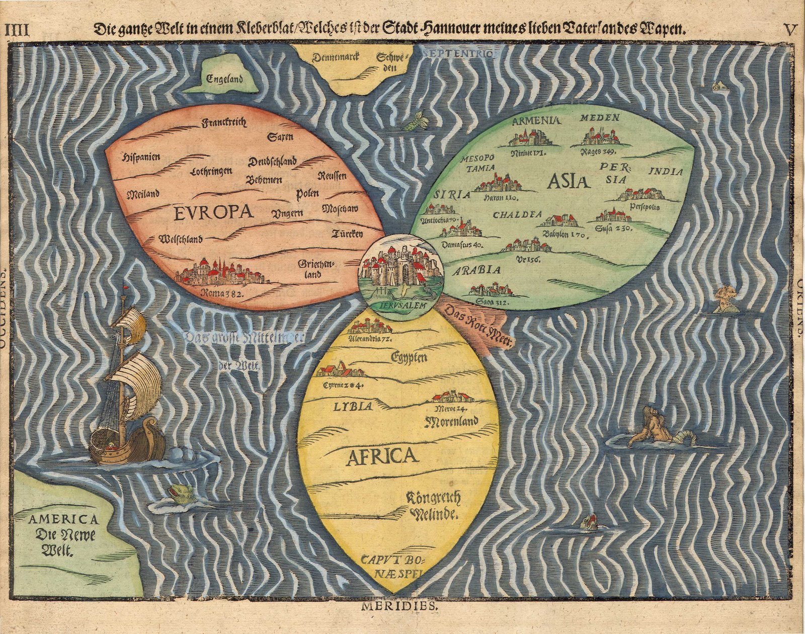 Ancient world maps world map 16th century description bunting clover leaf map with jerusalem in the center sourrounded by europe asia and africa published 1581 in magdeburggermany gumiabroncs Images