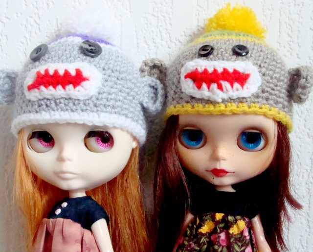 sock monkeys amigurumi hats for blythe dolls