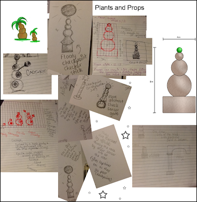 Rough ideas for plants and props - drawn using Photoshop, pen and pencil