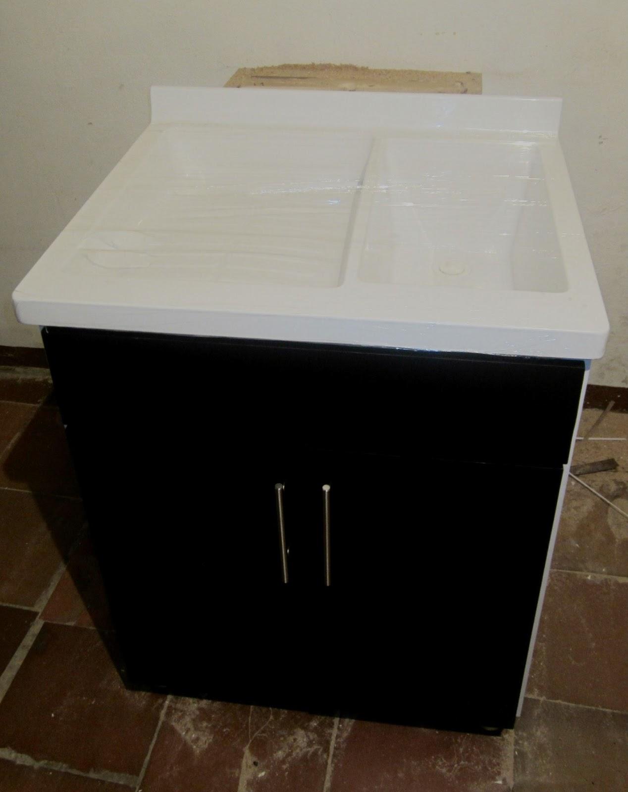 lavadero en fibra de vidrio y mármol sintético, con o sin mueble