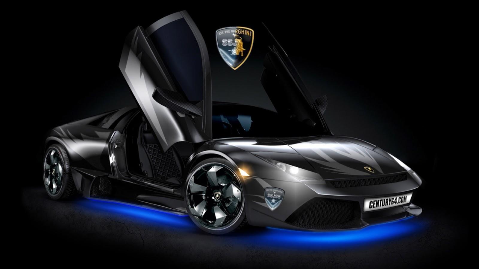 Black Lamborghini Wallpaper HD Blue