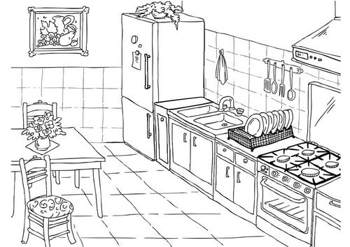 Una casa por dentro para colorear imagui for Comedor para dibujar