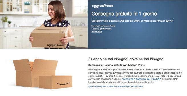 Amazon Prime - Consegna Gratuita in UN GIORNO.
