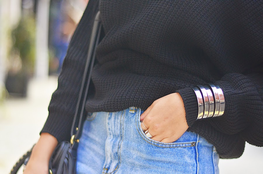 close up of boyfriend jeans and sweater