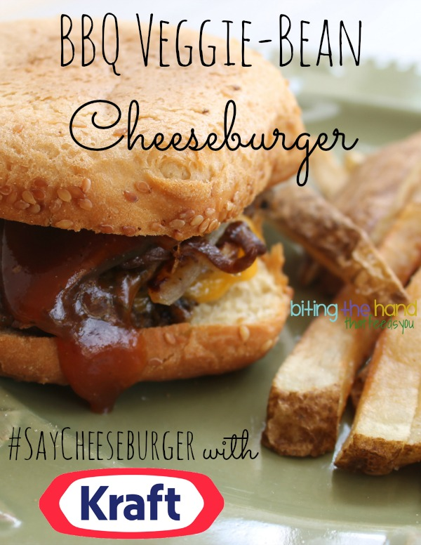 #saycheeseburger Vegetarian BBQ Veggie-Bean Cheeseburger w/Grilled Onions and Mushrooms