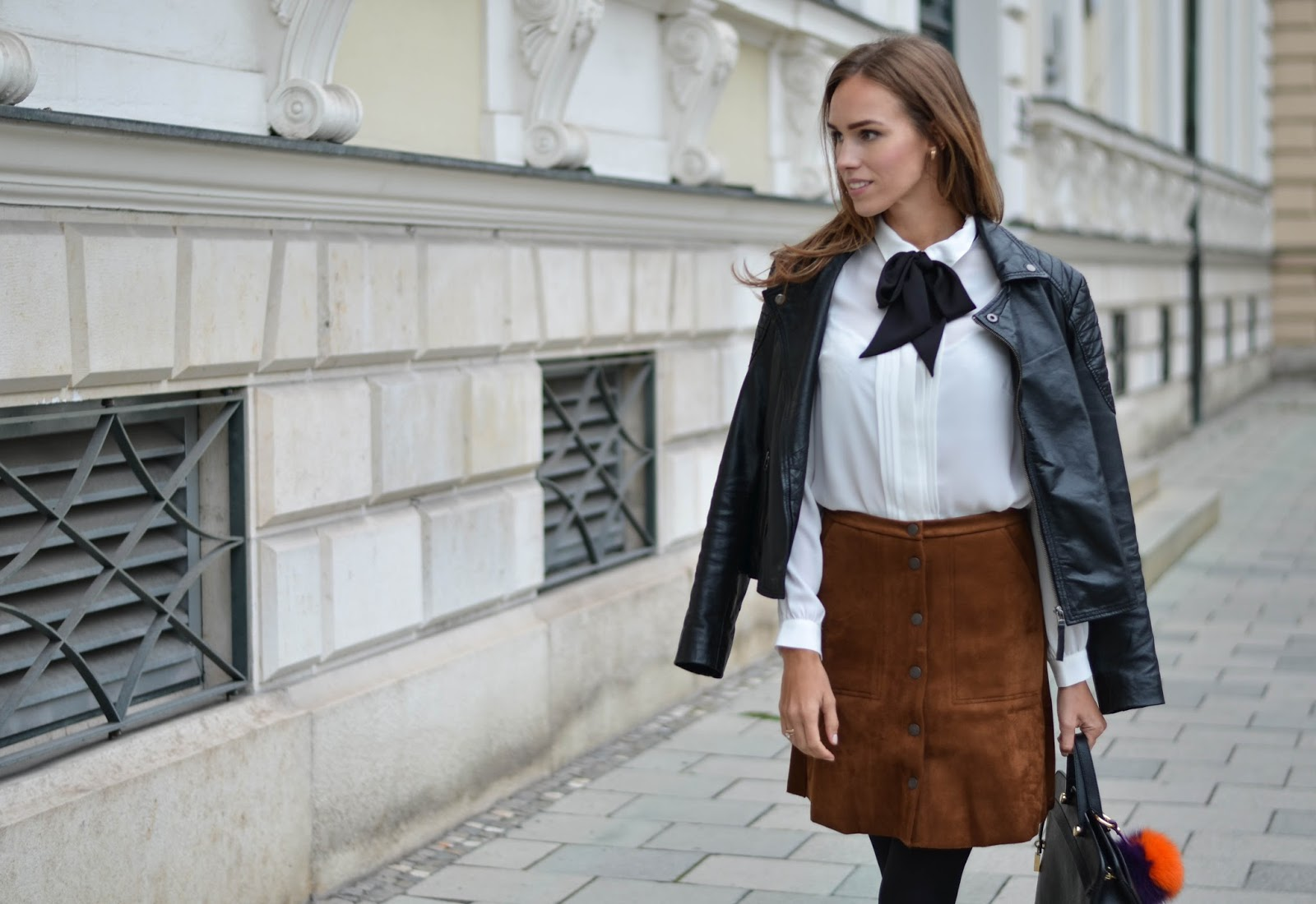kristjaana mere hm bow tie shirt lindex suede skirt fall outfit