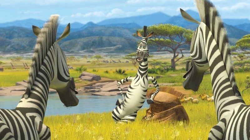 Marty talking to his new zebra friends in Madagascar 2: Escape 2 Africa http://animatedfilmreviews.blogspot.com/2012/12/madagascar-escape-2-africa-2008-full-of.html