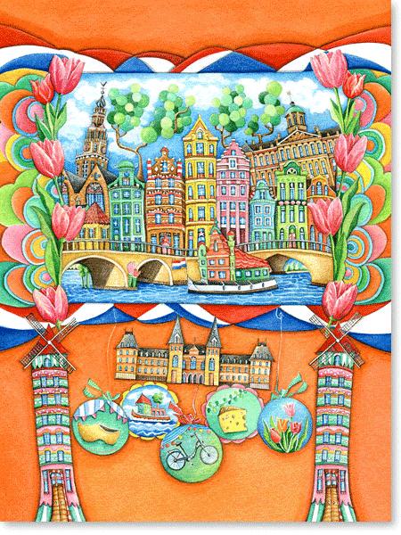 Aquarell Amsterdam - Serie: Europa für Kinder