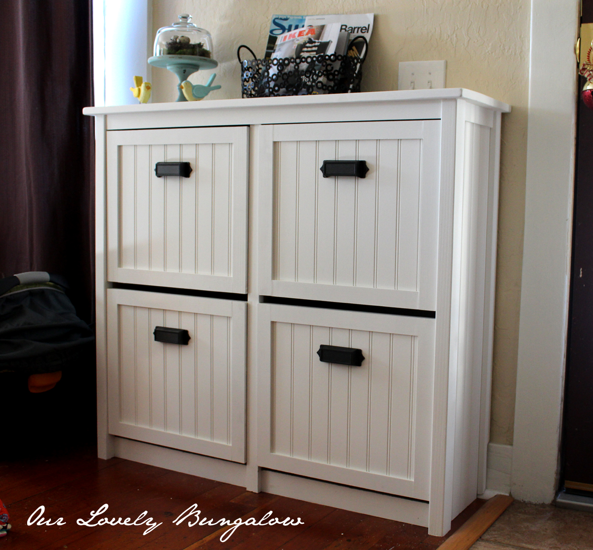 revamping an ikea shoe cabinet. Black Bedroom Furniture Sets. Home Design Ideas