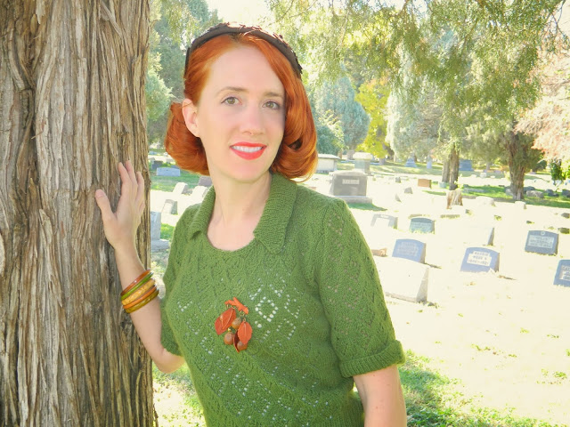 vintage mustard bakelite orange green cemetery Just Peachy, Darling