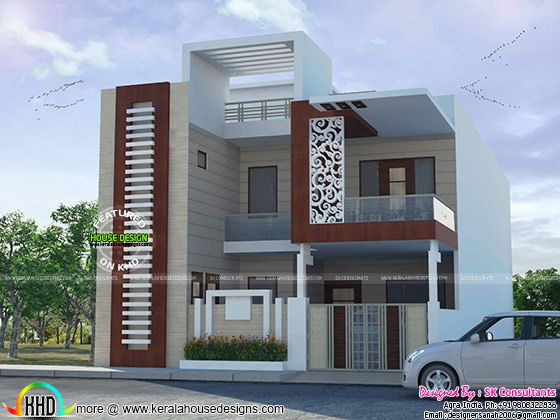 Decorative house plan by sk consultants kerala home for Home designs 12m frontage
