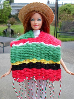 hand woven mexican poncho for barbie
