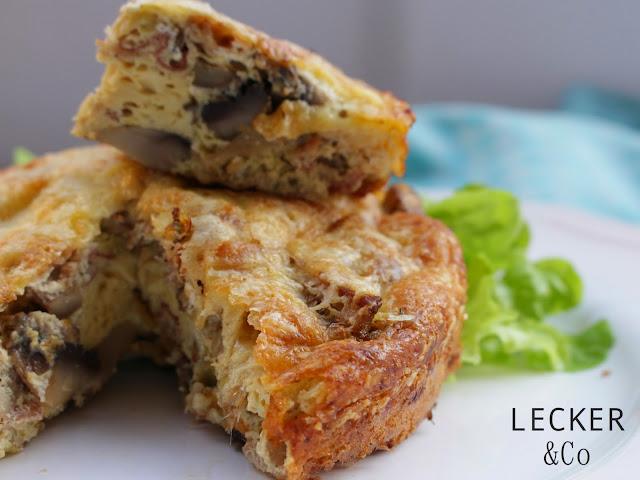 Frittata, Italien, Ei, Bacon, Champignongs, Pilze, Lauch, schnell, einfach