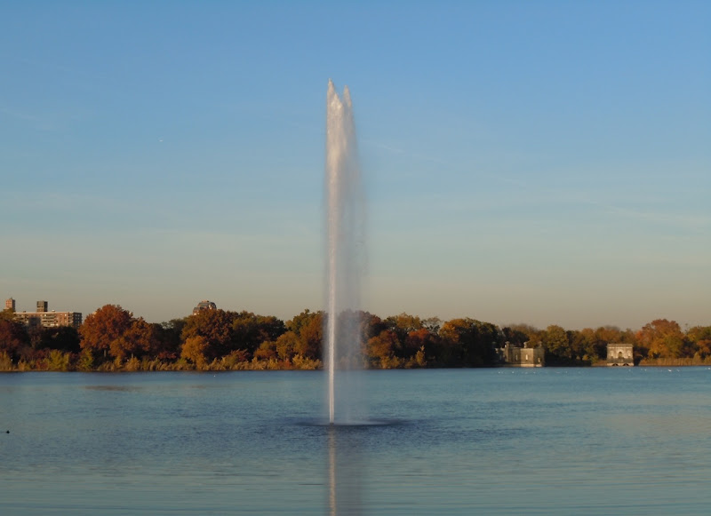 Autumnal Central Park Reservoir Fountain