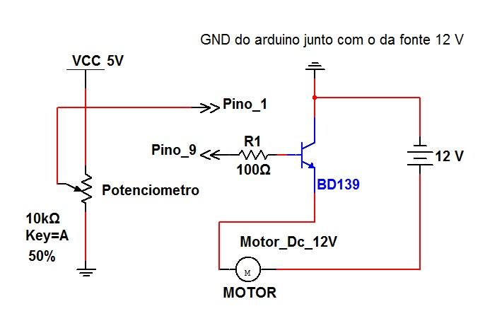 circuito de controle de velocidade de motor