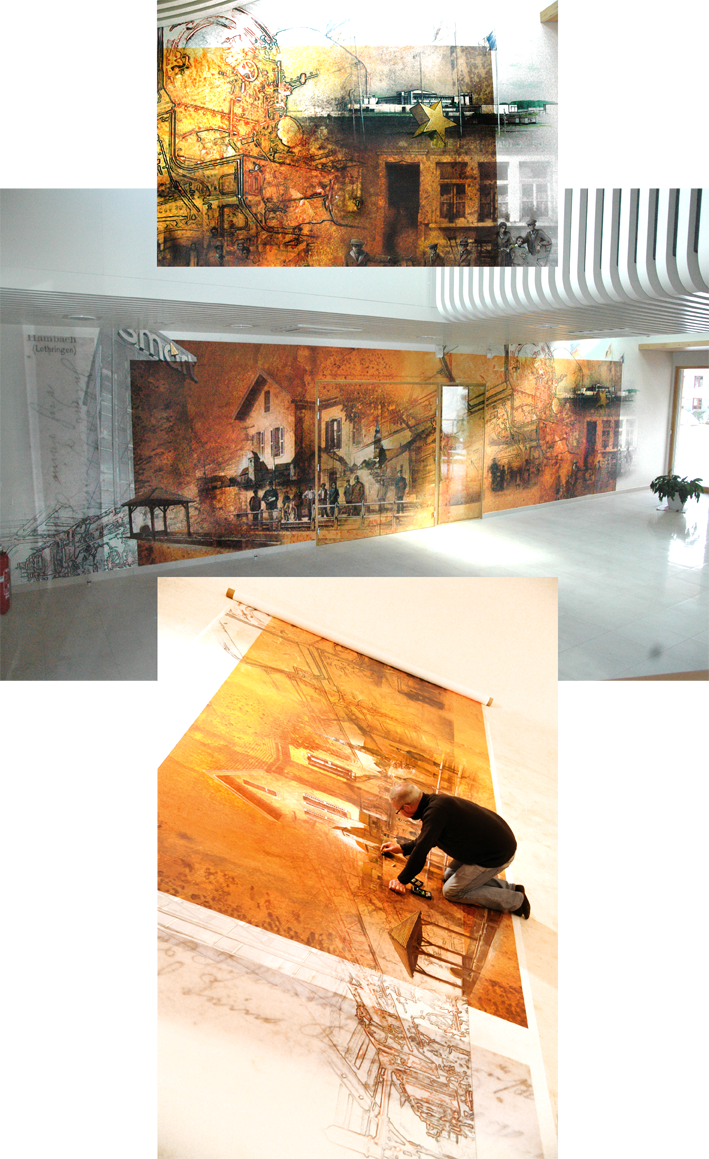 Fresque de 14,5 mètres de long pour l'entrée de la nouvelle mairie de Hambach (68)