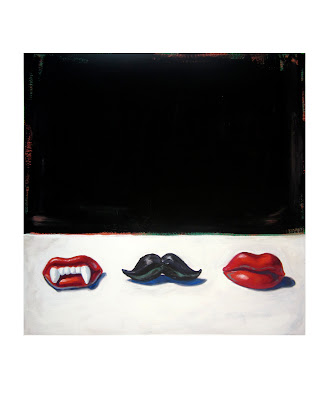 original painting of wax lips candies, wax fangs, and a wax mustache