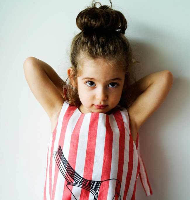 Wolf & Rita: Striped dress with bird print for Summer 2014 kids fashion collection