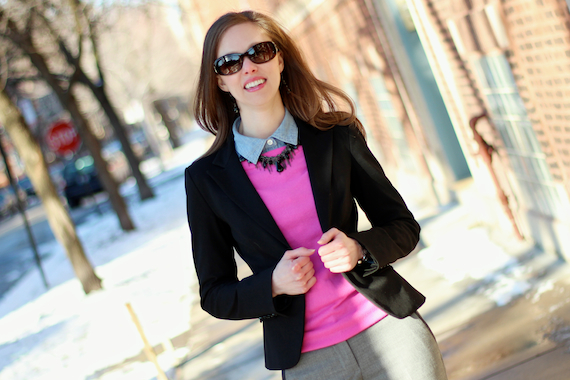 Hot Pink Sweater, Black Blazer, Chambray | StyleSidebar