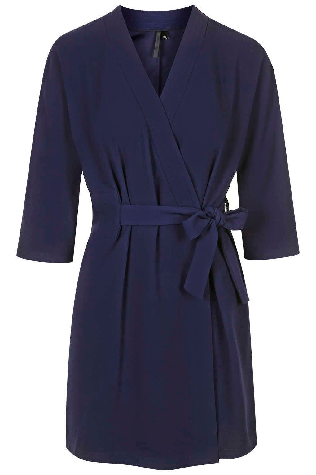 navy wrap tie dress